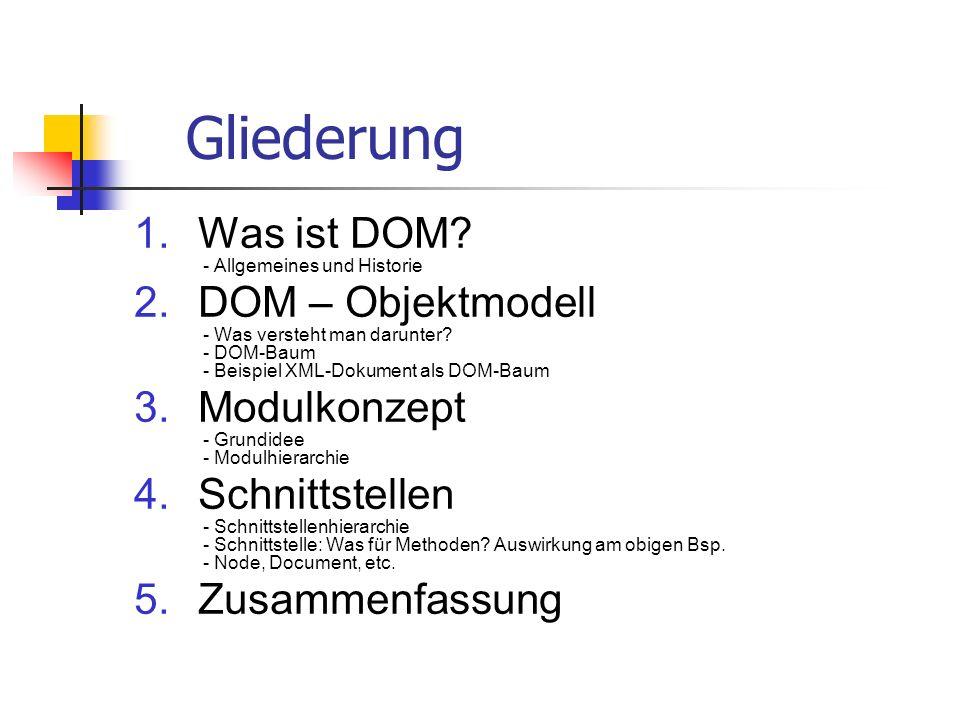 Gliederung Was ist DOM - Allgemeines und Historie
