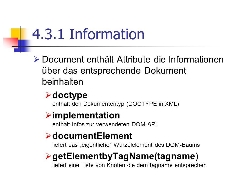 4.3.1 Information Document enthält Attribute die Informationen über das entsprechende Dokument beinhalten.