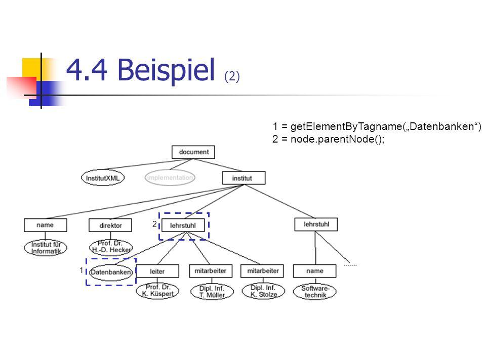 """4.4 Beispiel (2) 1 = getElementByTagname(""""Datenbanken )"""