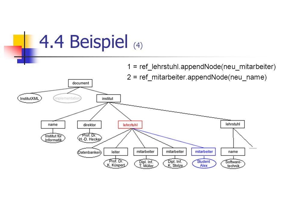 4.4 Beispiel (4) 1 = ref_lehrstuhl.appendNode(neu_mitarbeiter)