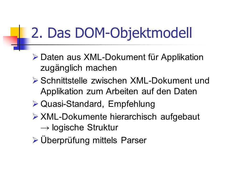 2. Das DOM-Objektmodell Daten aus XML-Dokument für Applikation zugänglich machen.