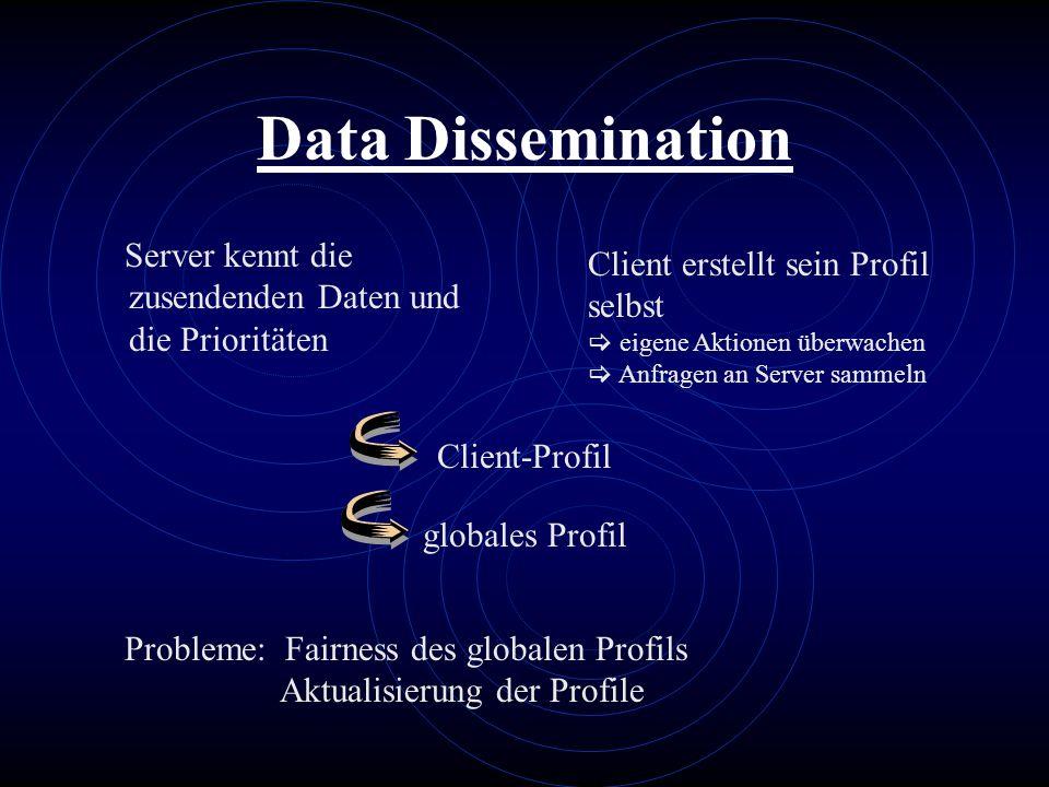 Data Dissemination Server kennt die zusendenden Daten und die Prioritäten. Client erstellt sein Profil selbst.