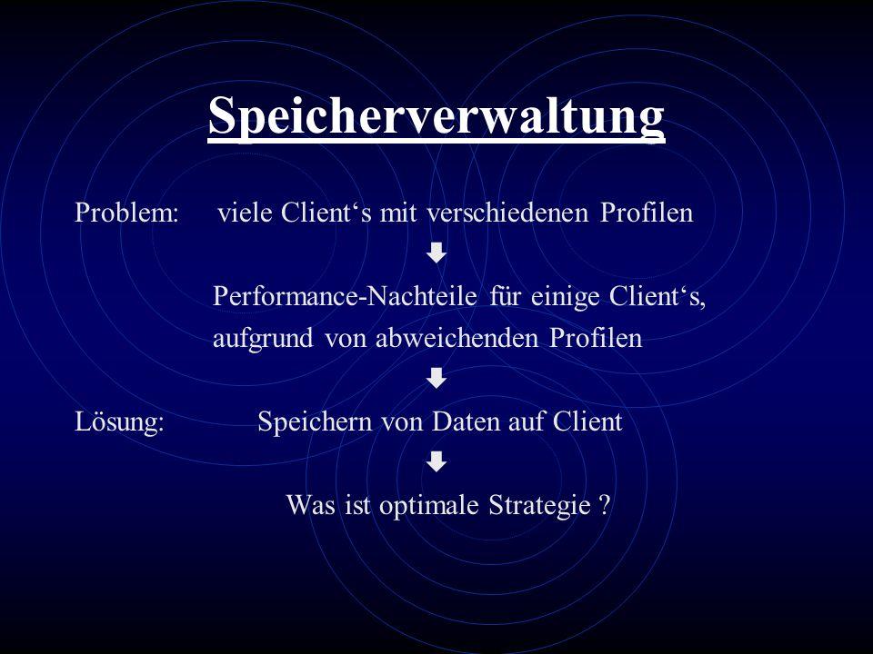 Speicherverwaltung Problem: viele Client's mit verschiedenen Profilen