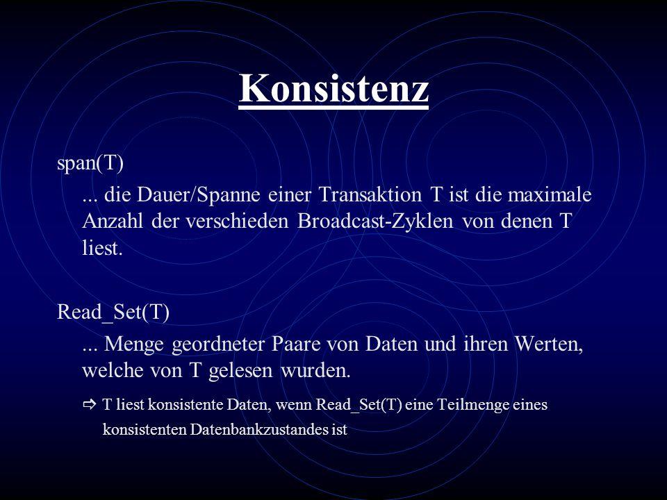 Konsistenz span(T) ... die Dauer/Spanne einer Transaktion T ist die maximale Anzahl der verschieden Broadcast-Zyklen von denen T liest.