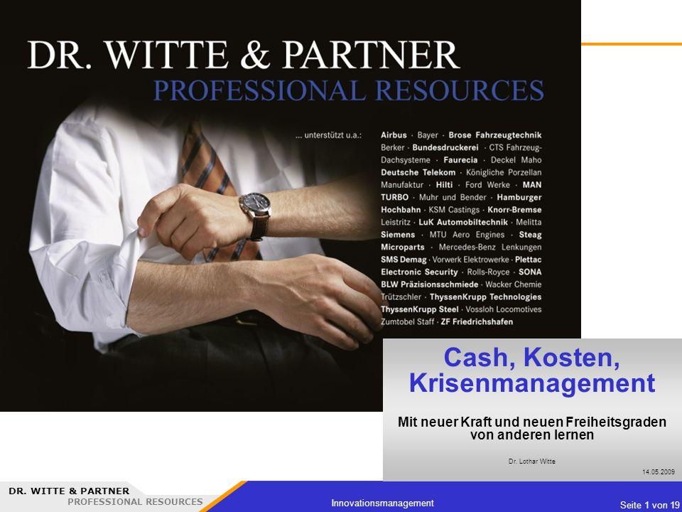 Cash, Kosten, Krisenmanagement