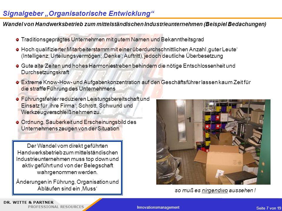 """Signalgeber """"Organisatorische Entwicklung"""