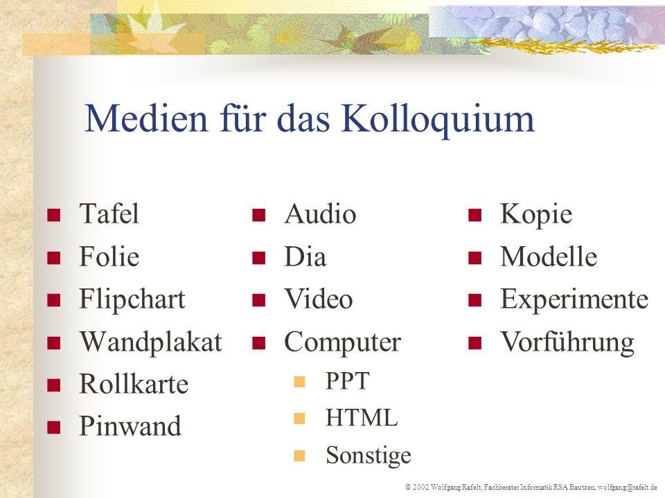 Medien für das Kolloquium