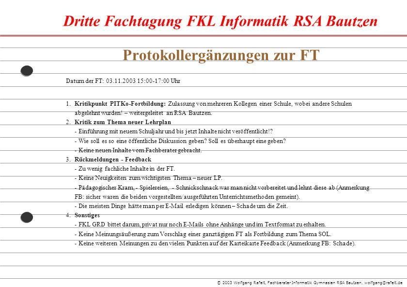 Protokollergänzungen zur FT