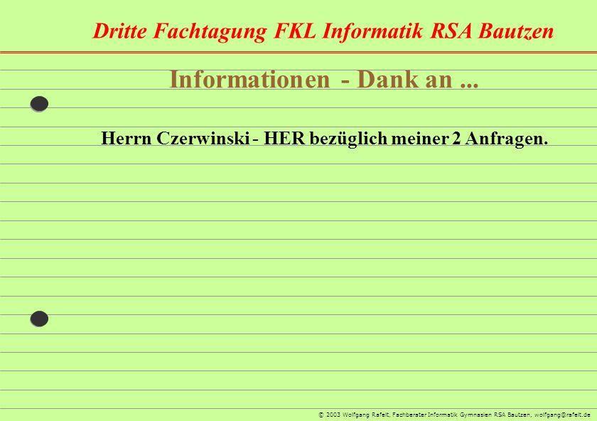 Informationen - Dank an ...