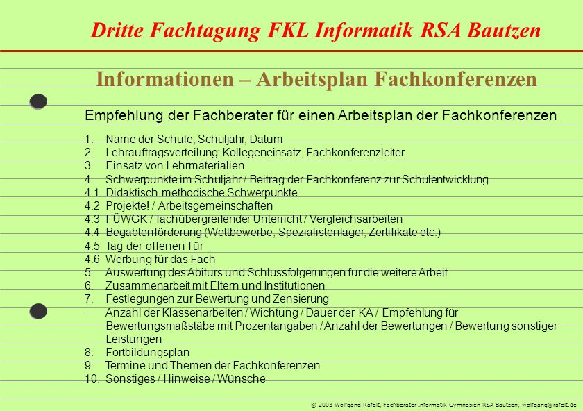 Informationen – Arbeitsplan Fachkonferenzen