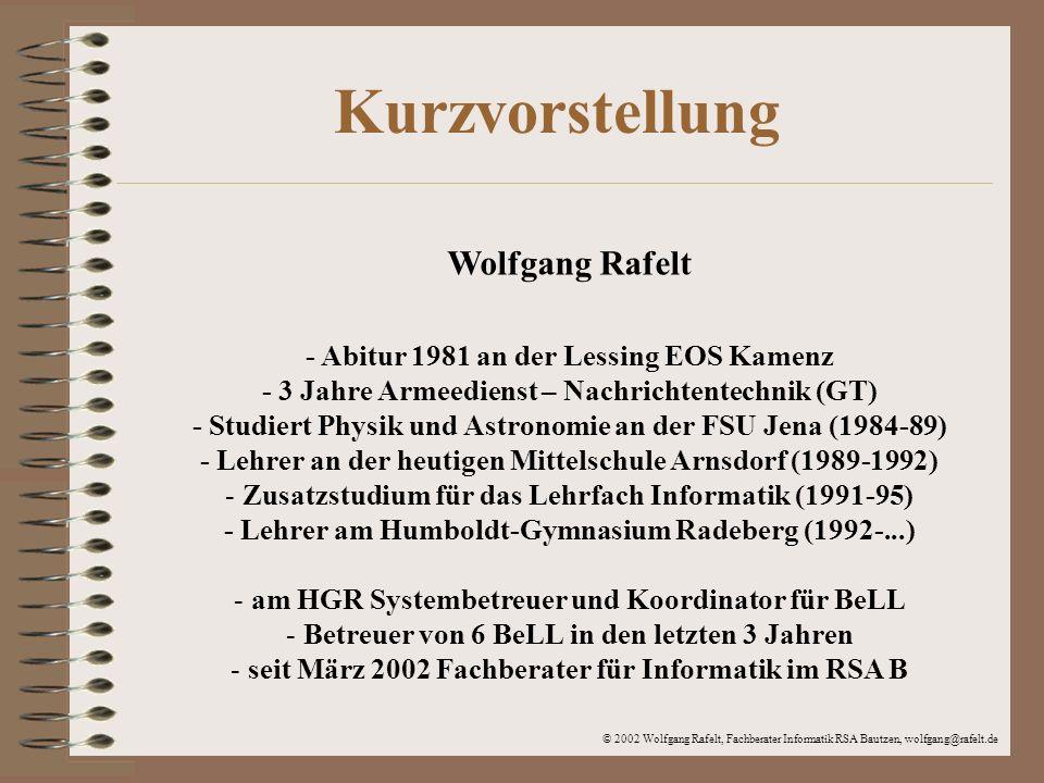 Kurzvorstellung Wolfgang Rafelt