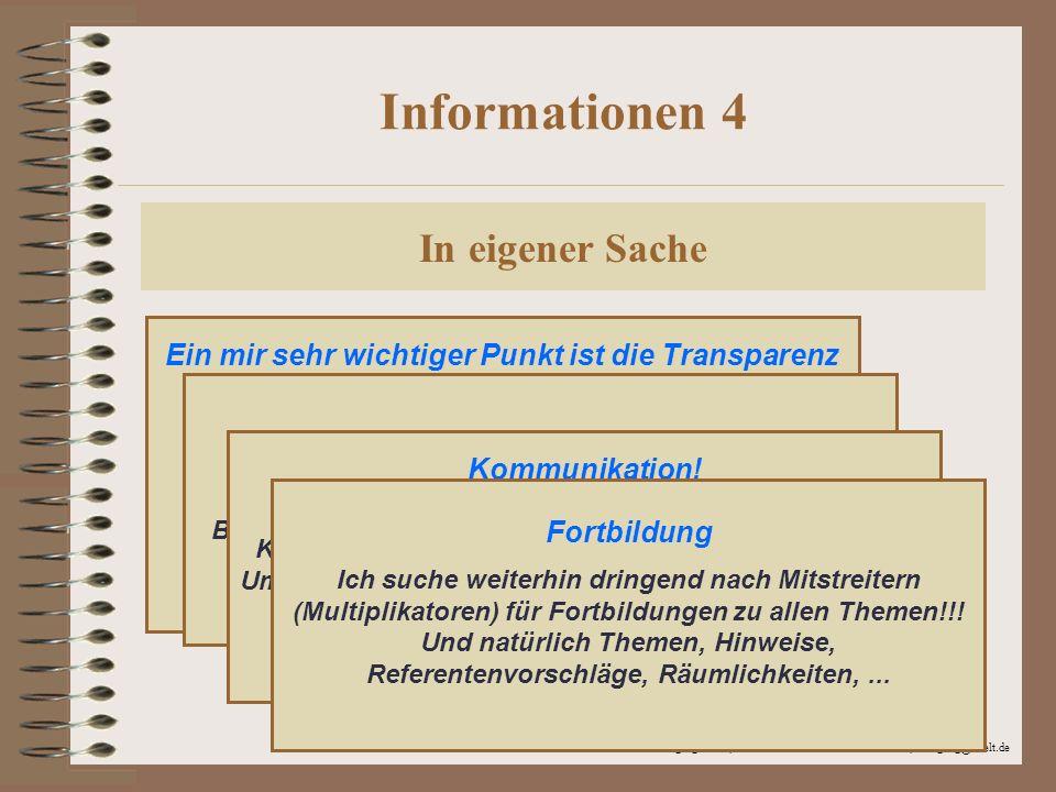 Informationen 4 In eigener Sache