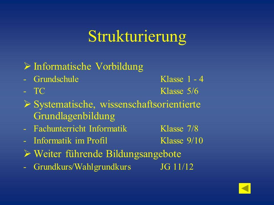 Strukturierung Informatische Vorbildung