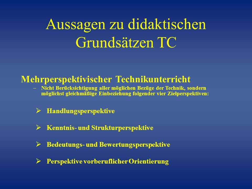 Aussagen zu didaktischen Grundsätzen TC
