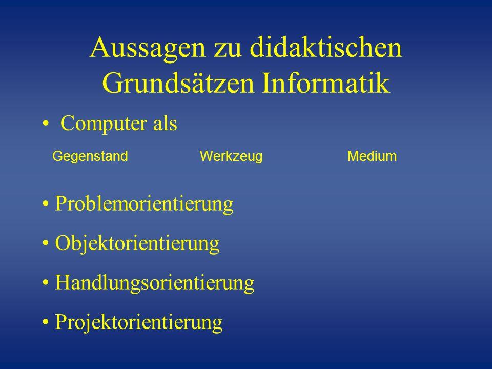 Aussagen zu didaktischen Grundsätzen Informatik