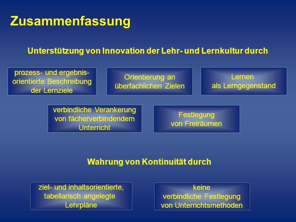 ZusammenfassungUnterstützung von Innovation der Lehr- und Lernkultur durch. prozess- und ergebnis- orientierte Beschreibung der Lernziele.