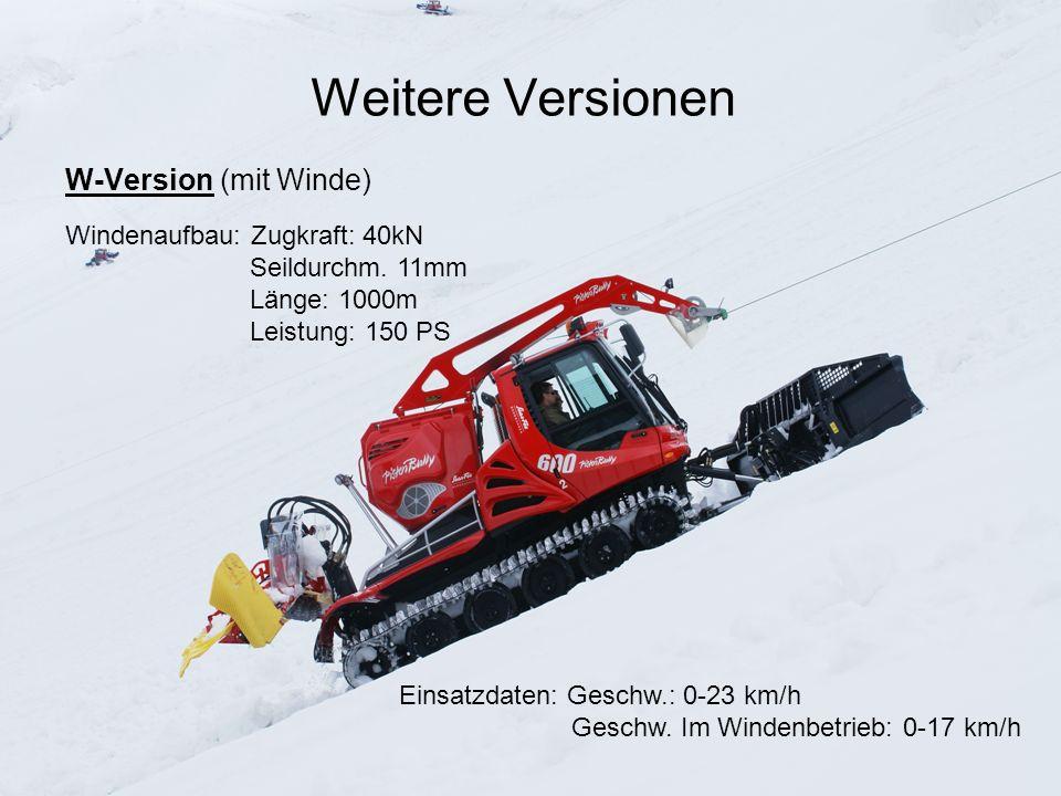 Weitere Versionen W-Version (mit Winde) Windenaufbau: Zugkraft: 40kN