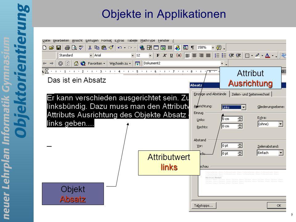 Objekte in Applikationen