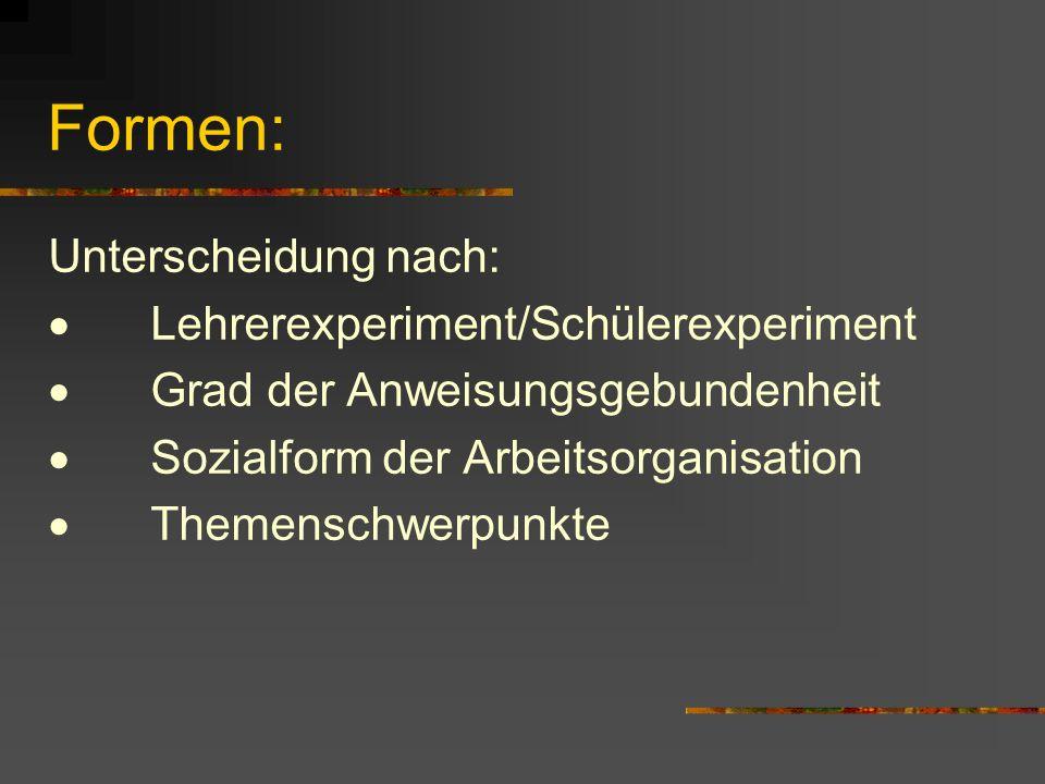 Formen: Unterscheidung nach: · Lehrerexperiment/Schülerexperiment
