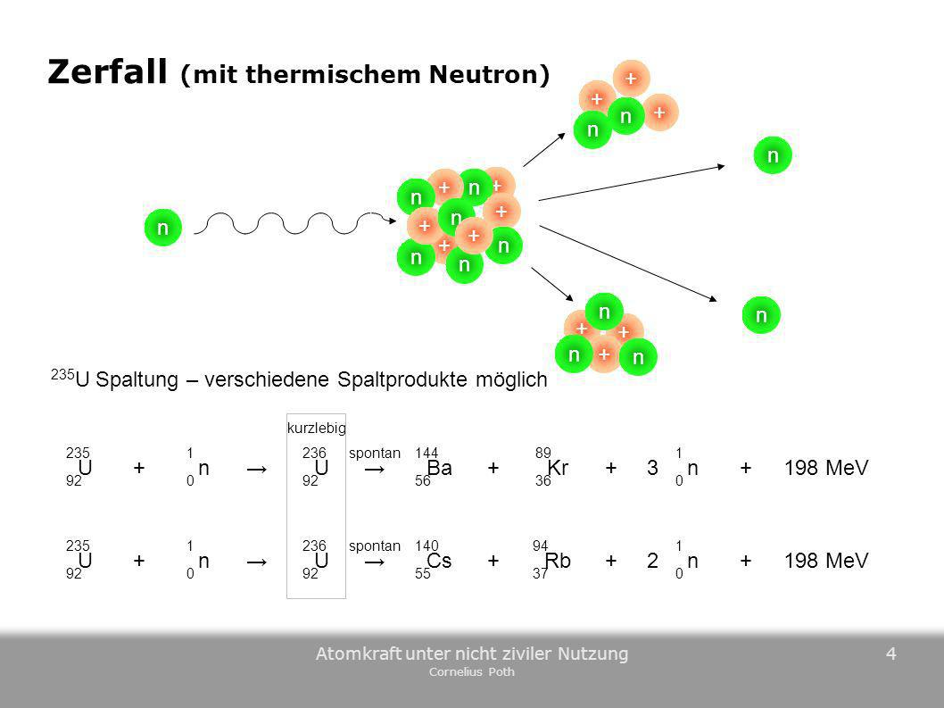 Zerfall (mit thermischem Neutron)