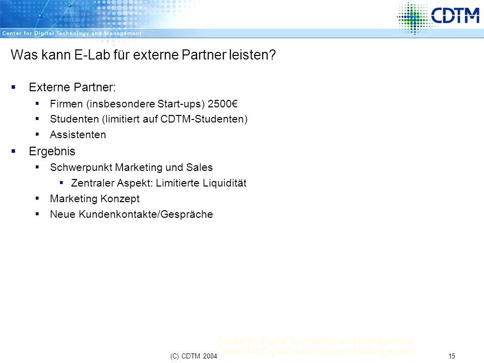 Was kann E-Lab für externe Partner leisten