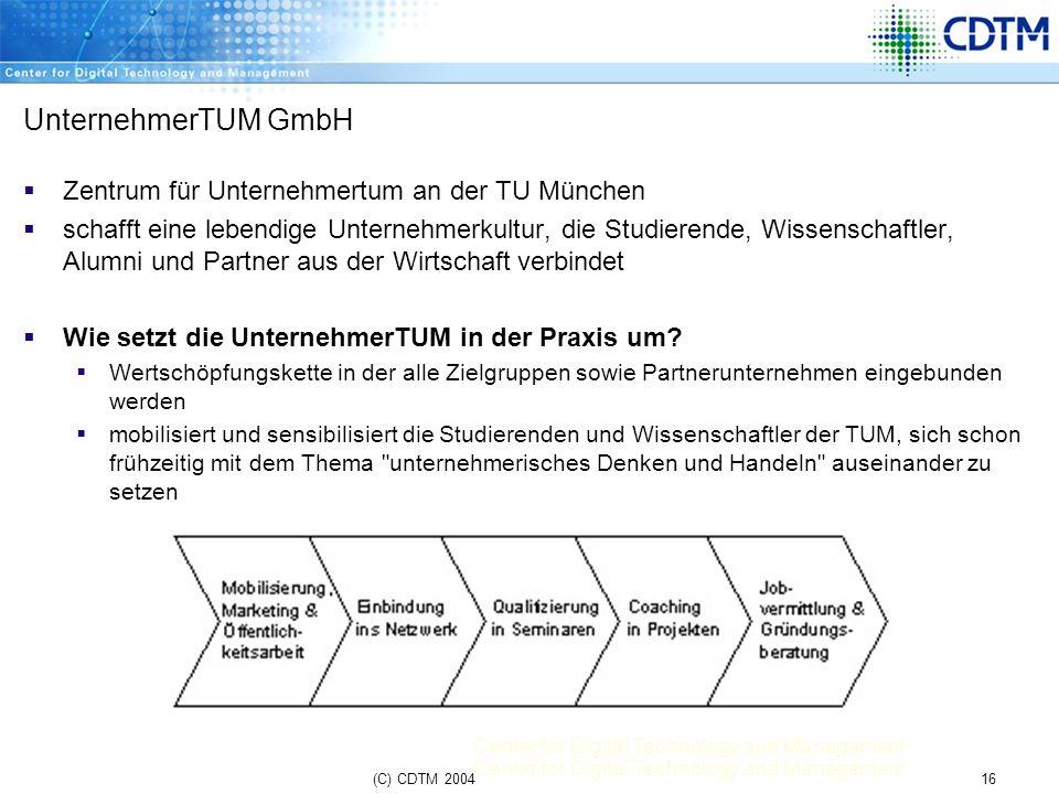 UnternehmerTUM GmbH Zentrum für Unternehmertum an der TU München