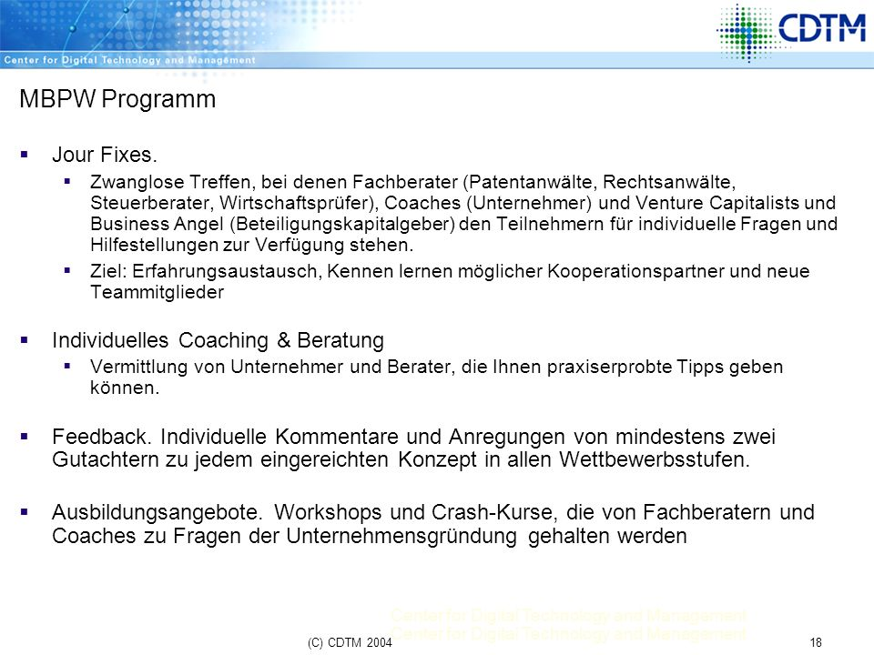 MBPW Programm Jour Fixes. Individuelles Coaching & Beratung