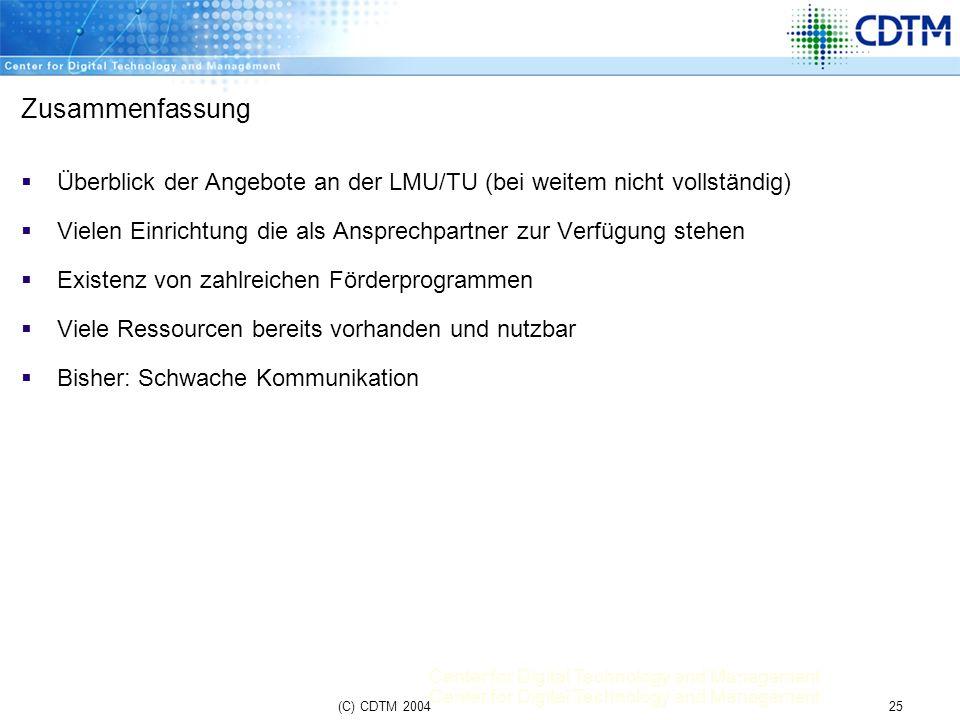 Zusammenfassung Überblick der Angebote an der LMU/TU (bei weitem nicht vollständig) Vielen Einrichtung die als Ansprechpartner zur Verfügung stehen.