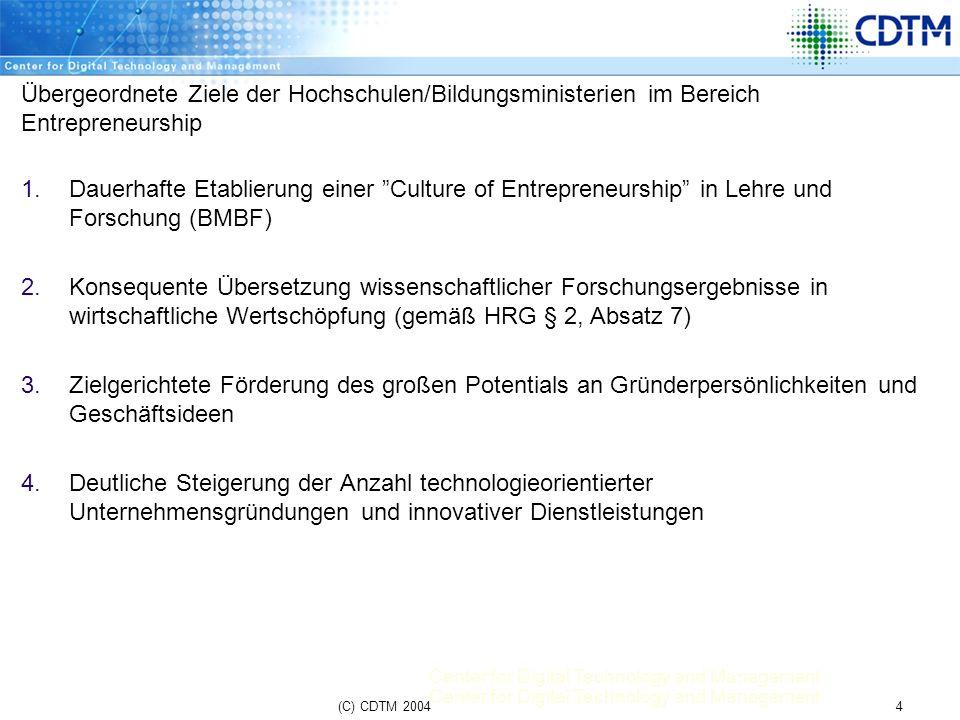Übergeordnete Ziele der Hochschulen/Bildungsministerien im Bereich Entrepreneurship
