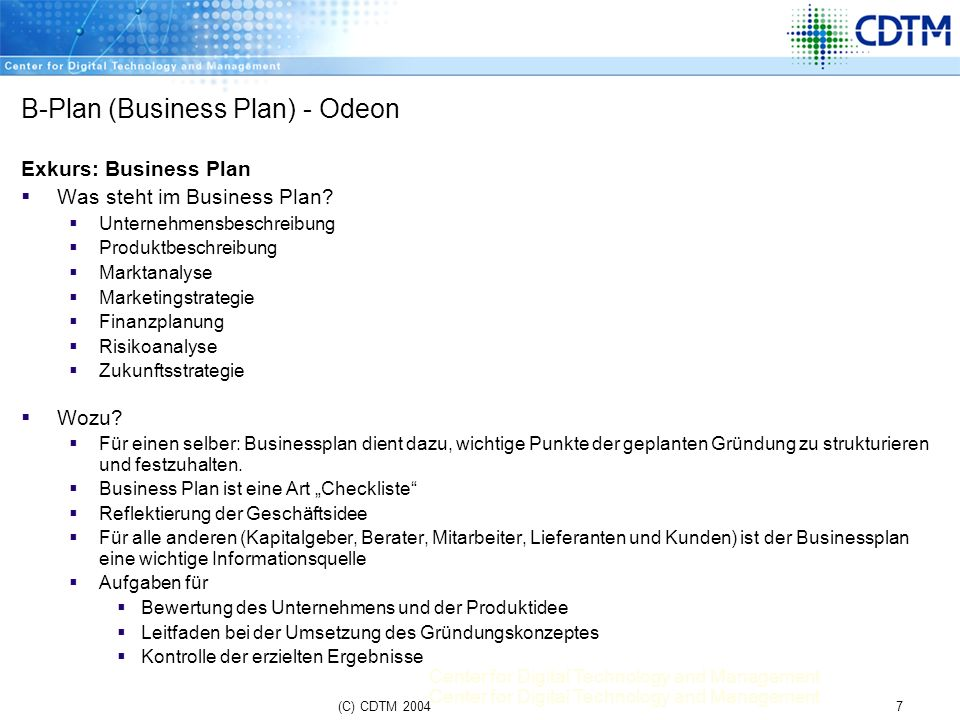 B-Plan (Business Plan) - Odeon