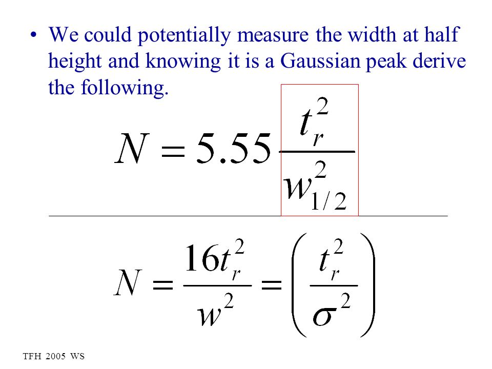 We could potentially measure the width at half height and knowing it is a Gaussian peak derive the following.