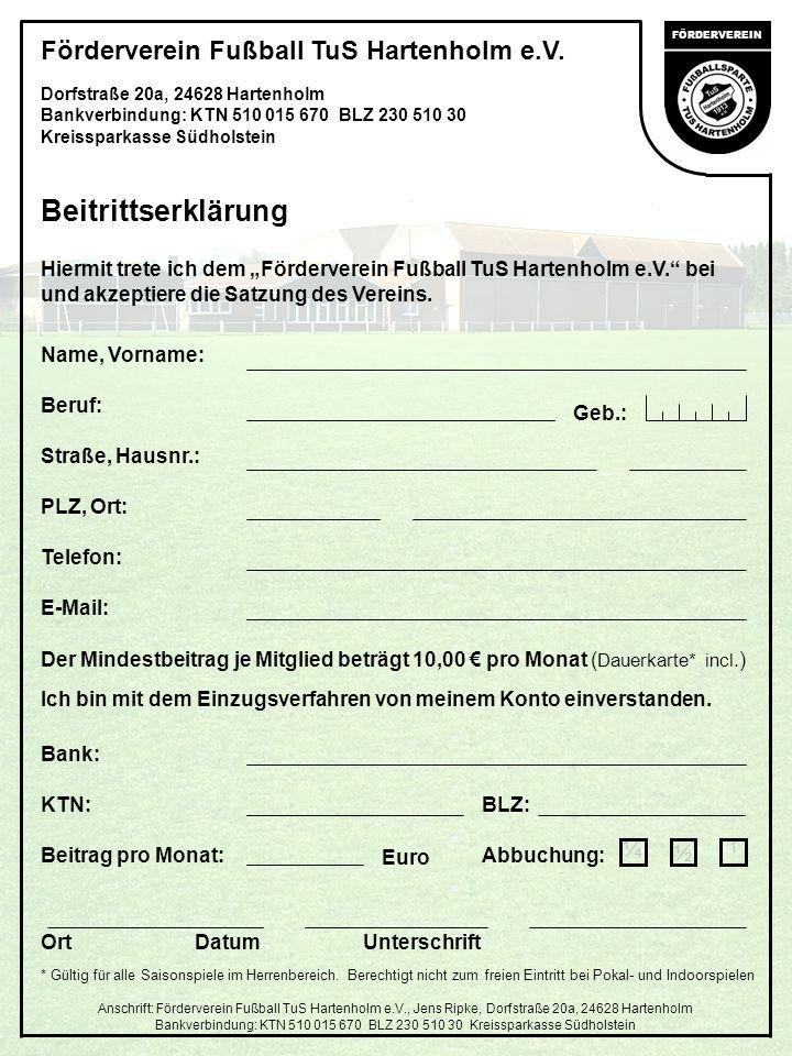 Beitrittserklärung Förderverein Fußball TuS Hartenholm e.V. ¼ ½