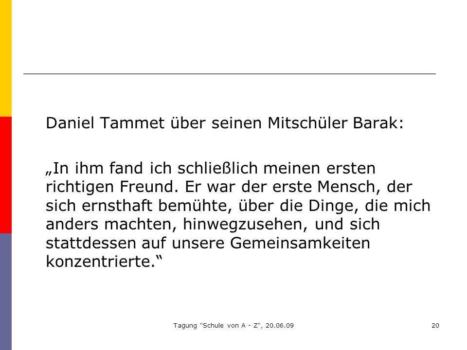 Daniel Tammet über seinen Mitschüler Barak: