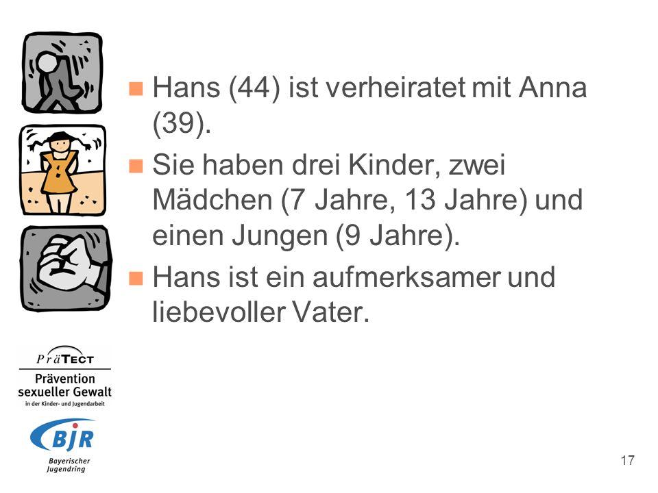 Hans (44) ist verheiratet mit Anna (39).