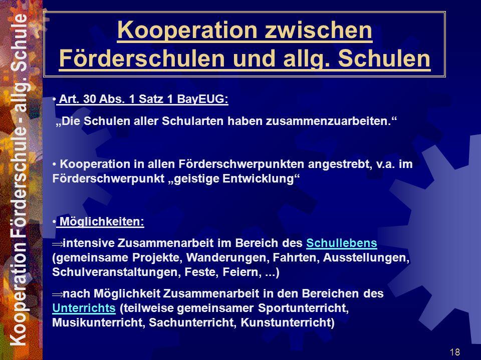 Kooperation zwischen Förderschulen und allg. Schulen