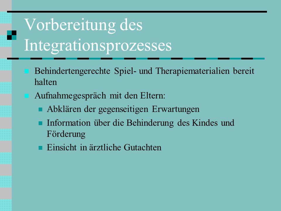 Vorbereitung des Integrationsprozesses