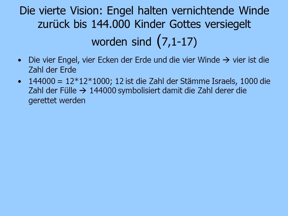 Die vierte Vision: Engel halten vernichtende Winde zurück bis 144
