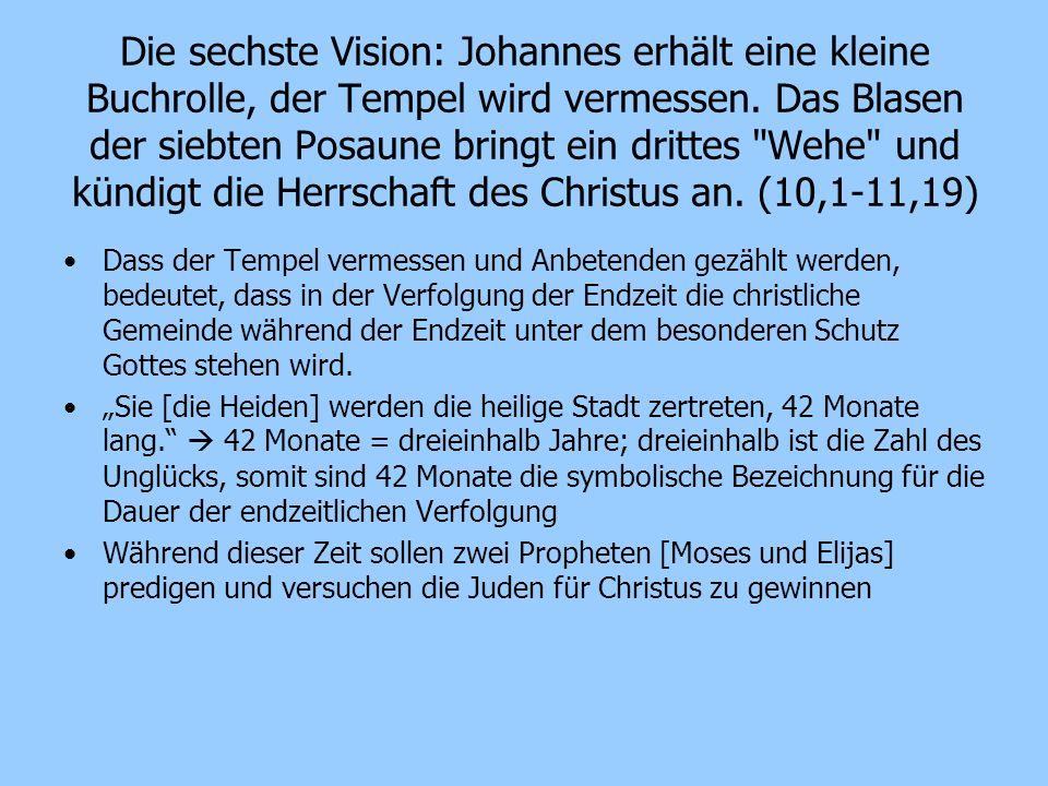 Die sechste Vision: Johannes erhält eine kleine Buchrolle, der Tempel wird vermessen. Das Blasen der siebten Posaune bringt ein drittes Wehe und kündigt die Herrschaft des Christus an. (10,1-11,19)