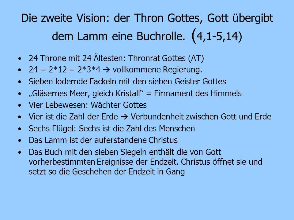 Die zweite Vision: der Thron Gottes, Gott übergibt dem Lamm eine Buchrolle. (4,1-5,14)