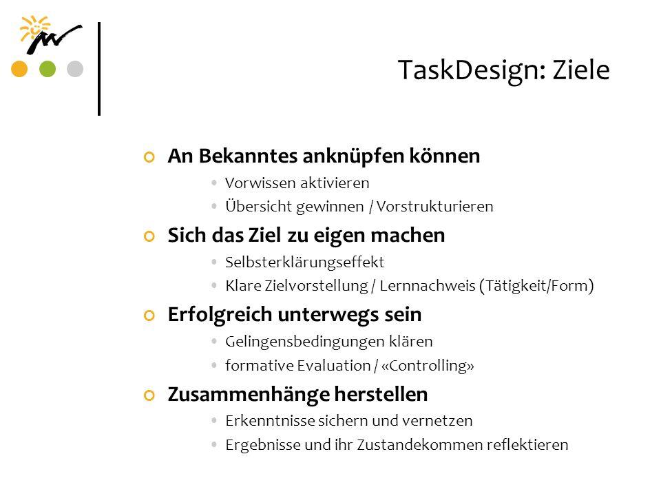 TaskDesign: Ziele An Bekanntes anknüpfen können