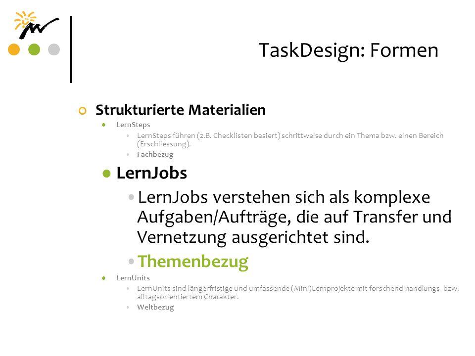 TaskDesign: Formen LernJobs