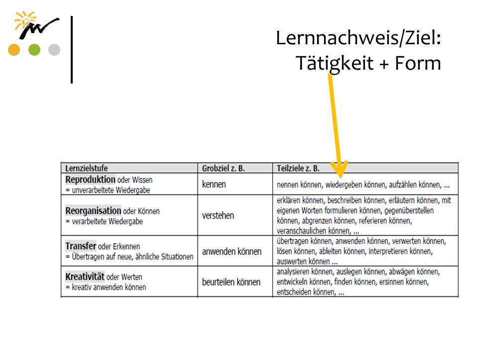 Lernnachweis/Ziel: Tätigkeit + Form