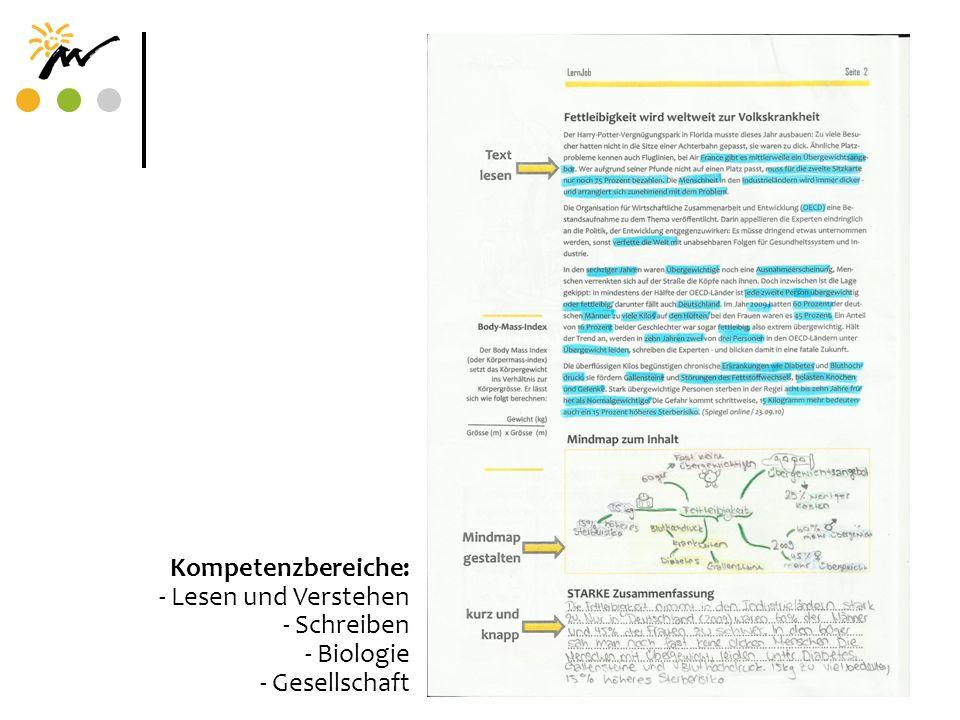 Kompetenzbereiche: - Lesen und Verstehen - Schreiben - Biologie - Gesellschaft