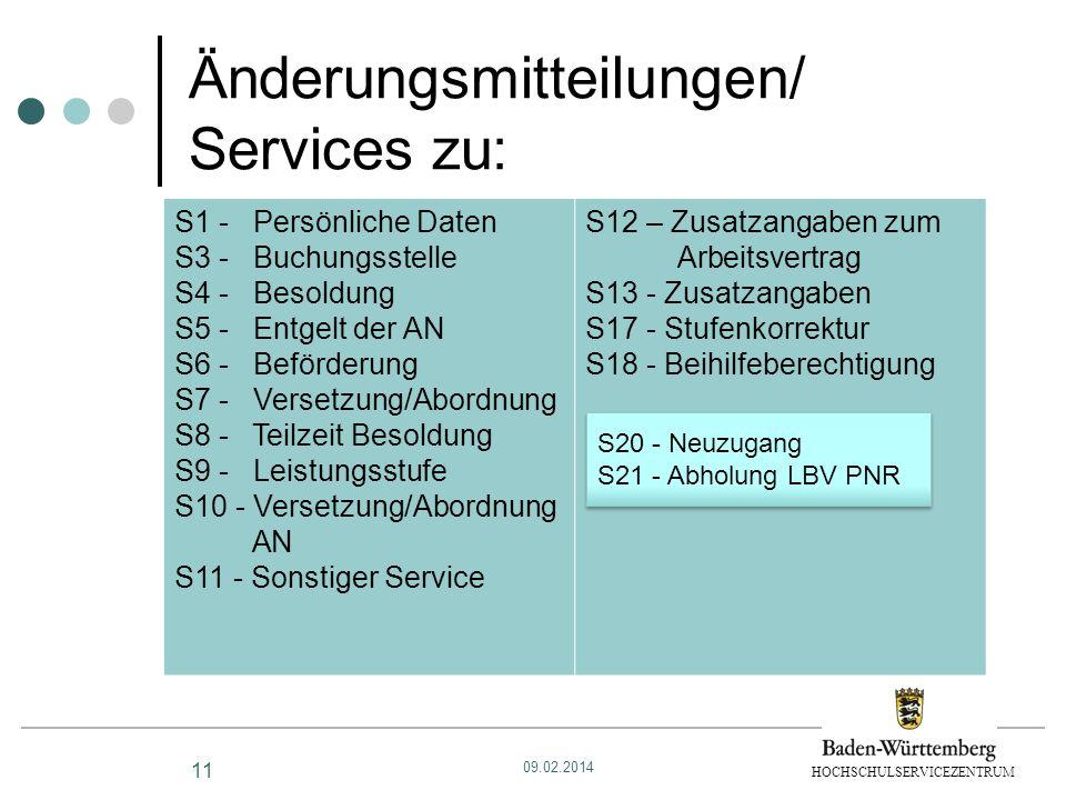 Änderungsmitteilungen/ Services zu: