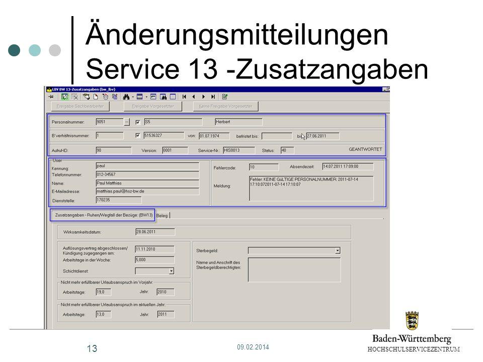 Änderungsmitteilungen Service 13 -Zusatzangaben