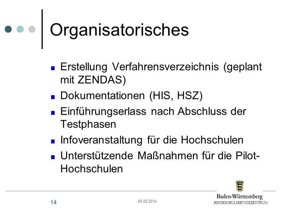 OrganisatorischesErstellung Verfahrensverzeichnis (geplant mit ZENDAS) Dokumentationen (HIS, HSZ) Einführungserlass nach Abschluss der Testphasen.