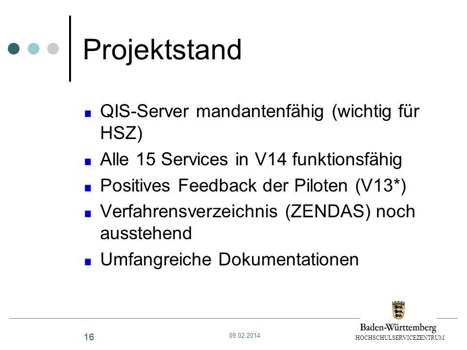 Projektstand QIS-Server mandantenfähig (wichtig für HSZ)