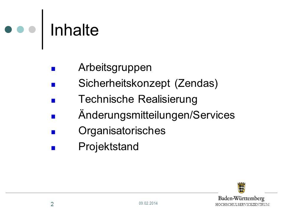 Inhalte Arbeitsgruppen Sicherheitskonzept (Zendas)