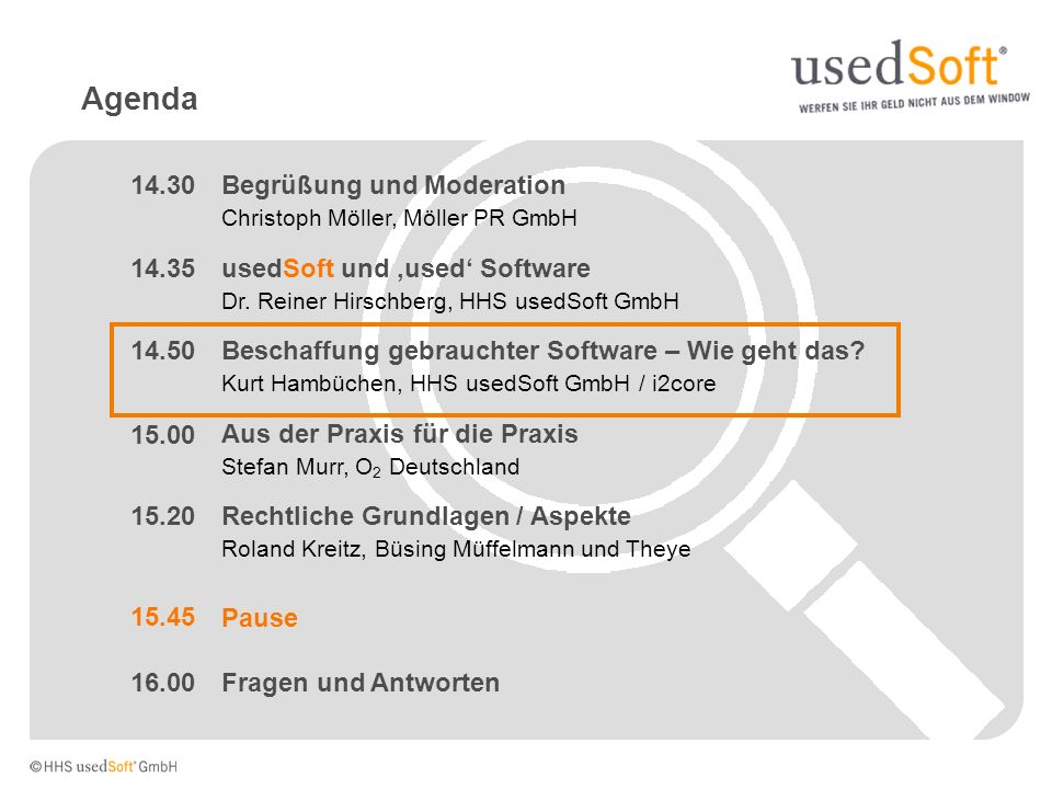 Agenda 14.30 Begrüßung und Moderation 14.35