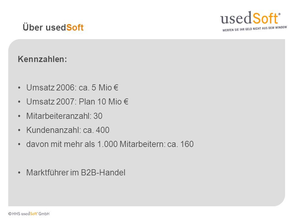 Über usedSoft Kennzahlen: Umsatz 2006: ca. 5 Mio €